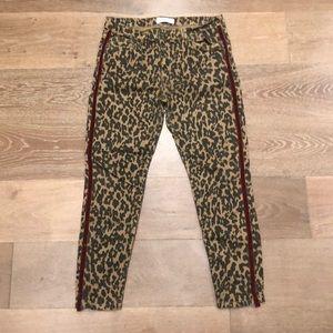 Zara leopard jeans w/ velvet side stripe